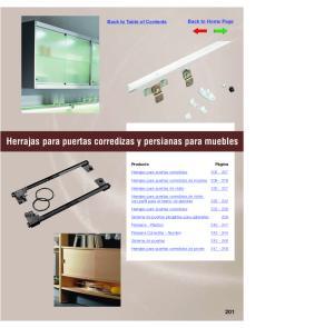 Herrajas para puertas corredizas y persianas para muebles