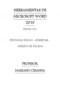 HERRAMIENTAS DE MICROSOFT WORD 2010