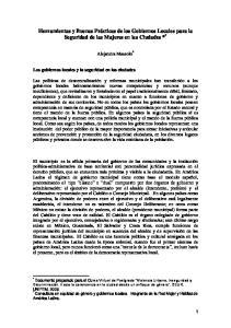 Herramientas y Buenas Prácticas de los Gobiernos Locales para la Seguridad de las Mujeres en las Ciudades * *