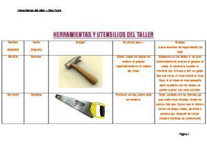 HERRAMIENTAS Y UTENSILIOS DEL TALLER