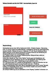 HERUNTERLADEN LESEN DOWNLOAD READ. Beschreibung. Helmut Schmidt und die RAF PDF - herunterladen, lesen sie ENGLISH VERSION