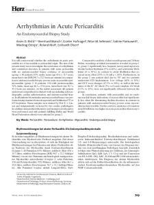 Herz. Arrhythmias in Acute Pericarditis. An Endomyocardial Biopsy Study