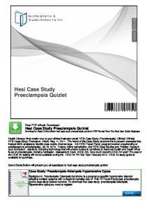Hesi Case Study Preeclampsia Quizlet