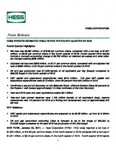 HESS REPORTS ESTIMATED RESULTS FOR THE FOURTH QUARTER OF 2016