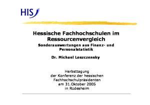 Hessische Fachhochschulen im Ressourcenvergleich