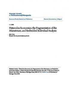 Heterodox Economics, the Fragmentation of the Mainstream, and Embedded Individual Analysis