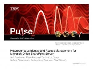Heterogeneous Identity and Access Management for Microsoft Office SharePoint Server