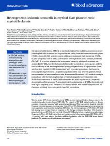 Heterogeneous leukemia stem cells in myeloid blast phase chronic myeloid leukemia