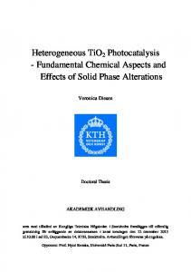 Heterogeneous TiO 2 Photocatalysis - Fundamental Chemical Aspects and Effects of Solid Phase Alterations