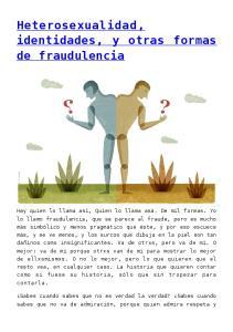 Heterosexualidad, identidades, y otras formas de fraudulencia