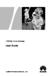 HG630a Home Gateway. User Guide HUAWEI TECHNOLOGIES CO., LTD