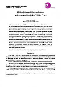 Hidden Crises and Communication: An Interactional Analysis of Hidden Crises