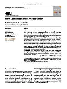 HIFU: Local Treatment of Prostate Cancer