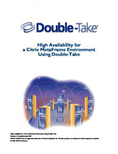 High Availability for a Citrix MetaFrame Environment Using Double-Take