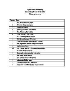 High Country Elementary School Supply List Kindergarten boys