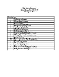 High Country Elementary School Supply List Kindergarten Girls