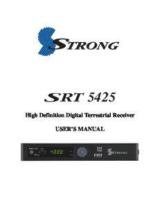 High Definition Digital Terrestrial Receiver USER S MANUAL