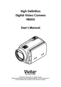 High Definition Digital Video Camera 980HD. User s Manual