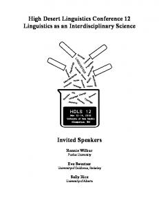 High Desert Linguistics Conference 12 Linguistics as an Interdisciplinary Science