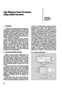 High Efficiency Power Conversion Using a Matrix Converter