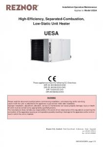 High-Efficiency, Separated-Combustion, Low-Static Unit Heater UESA