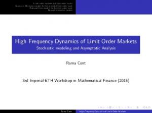 High Frequency Dynamics of Limit Order Markets