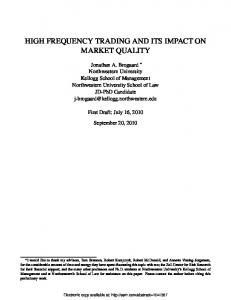 HIGH FREQUENCY TRADING AND ITS IMPACT ON MARKET QUALITY