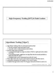 High-Frequency Trading (HFT) & Flash Crashes