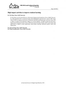High impact activities to improve student learning