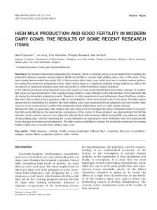HIGH MILK PRODUCTION AND GOOD FERTILITY IN MODERN DAIRY COWS: THE RESULTS OF SOME RECENT RESEARCH ITEMS