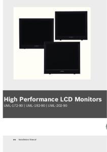 High Performance LCD Monitors UML UML UML Installation Manual