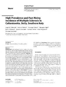 High Prevalence and Fast Rising Incidence of Multiple Sclerosis in Caltanissetta, Sicily, Southern Italy