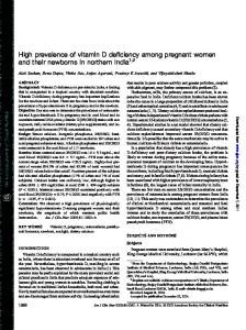 High prevalence of vitamin D deficiency among pregnant women and their newborns in northern India 1,2