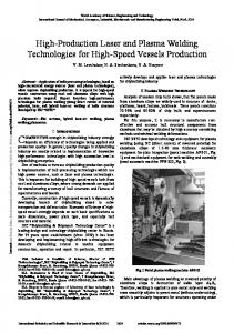 High-Production Laser and Plasmaa Welding Technologies for High-Speed Vessels Production