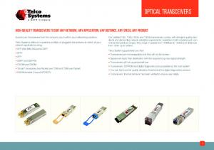 High-Quality Transceivers to Suit Any Network, Any Application, Any Distance, Any Speed, Any Product