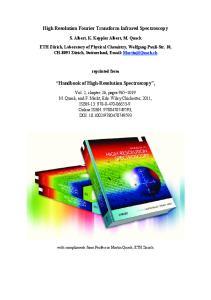 High Resolution Fourier Transform Infrared Spectroscopy. Handbook of High-Resolution Spectroscopy,
