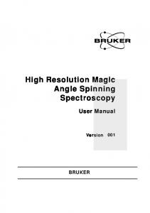 High Resolution Magic Angle Spinning Spectroscopy