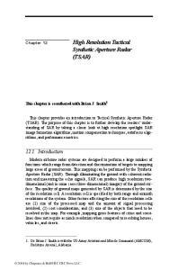 High Resolution Tactical Synthetic Aperture Radar (TSAR)