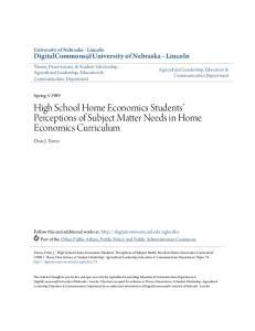 High School Home Economics Students Perceptions of Subject Matter Needs in Home Economics Curriculum