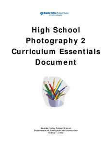 High School Photography 2 Curriculum Essentials Document