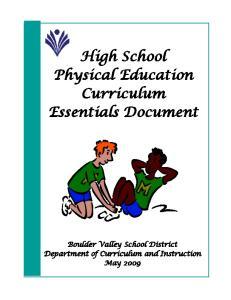 High School Physical Education Curriculum Essentials Document