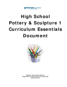 High School Pottery & Sculpture 1 Curriculum Essentials Document