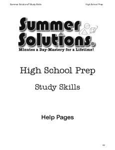 High School Prep. Study Skills. Help Pages