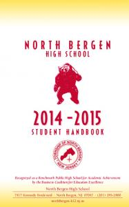 HIGH SCHOOL STUDENT HANDBOOK. North Bergen High School