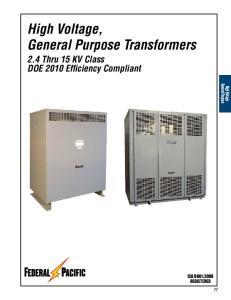 High Voltage, General Purpose Transformers