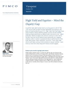 High Yield and Equities Mind the (Equity) Gap