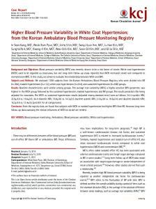 Higher Blood Pressure Variability in White Coat Hypertension; from the Korean Ambulatory Blood Pressure Monitoring Registry