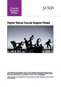 Higher Dance Course Support Notes