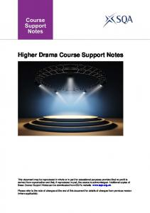 Higher Drama Course Support Notes