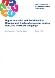 Higher education and the Millennium Development Goals: where are we coming from, and where are we going?